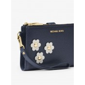 Boutique Adele Floral Appliqué Leather Smartphone Wristlet Michael Kors Femme Bleu Amiral/Blanc Optique En Ligne