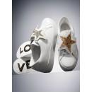 Basket Leighton En Cuir Michael Kors Femme Blanc Optique/Noir Promo prix