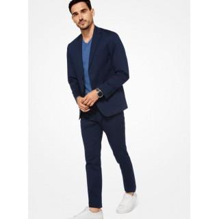 Authentique Blazer En Coton Extensible Michael Kors Homme Bleu De Minuit