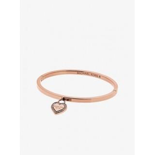 Promotions Bracelet Rigide Avec Cœur Et Logo Ton Or Rose Michael Kors Femme Or Rose