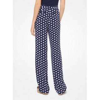 Pantalon En Crêpe Georgette à Pois Michael Kors Femme Blanc/Bleu Marine Véritable Boutique Paris