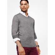 Nouvelle Collection Pull-Over En Mérinos à Col En V Michael Kors Homme Cendre