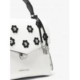 Sacoche Bristol En Cuir Avec Fleurs Appliquées Michael Kors Femme Blanc Optique/Noir Pas Cher Nice
