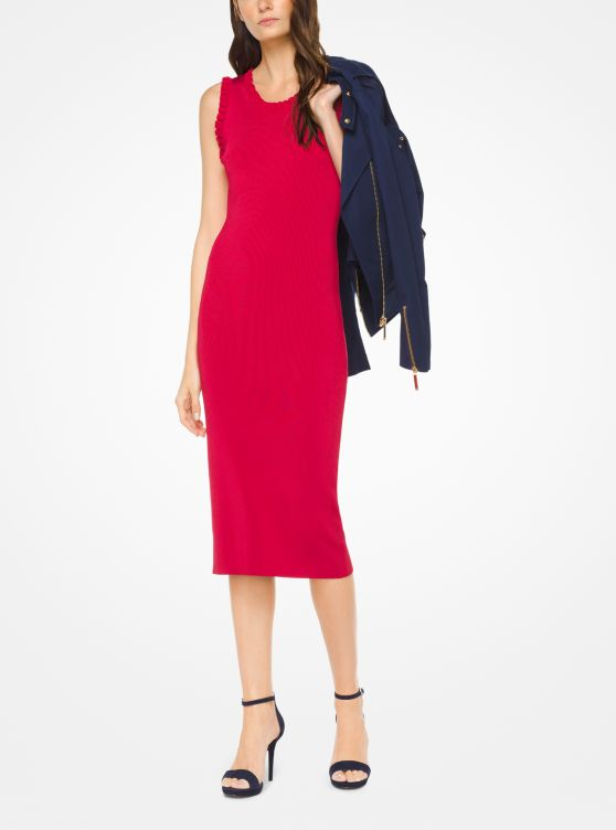 Robe à Volants En Viscose Extensible Michael Kors Femme Rouge Véritable