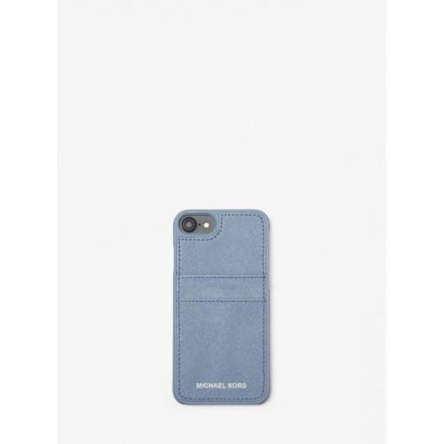5eb5ebd32c Étui En Cuir Saffiano Pour Iphone 7/8 Michael Kors Femme Bleu Pâle ...