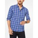 Chemise à Carreaux Ajustée En Coton Michael Kors Homme Bleu Nautique Promo prix