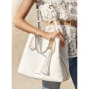 Vente Privee Grand Sac à Main Brooklyn En Cuir Michael Kors Femme Blanc Optique