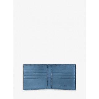 Nouvelle Harrison Leather Billfold Wallet Michael Kors Homme Bleu Océan