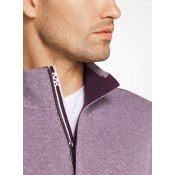 Pull-Over En Coton à Quart De Zip Michael Kors Homme Raisin Sec Bonnes Affaires