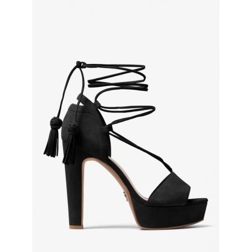 45a6bf3836e Boutique de Sandale Rosalie à Lacets Avec Semelle Compensée En Daim Michael  Kors Femme Noir