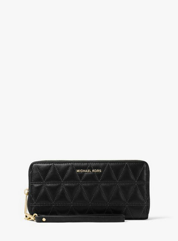 Étui à Sangle Continental Jet Set Travel En Cuir Matelassé Michael Kors Femme Noir